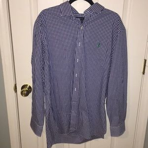 Blue and white polo button down